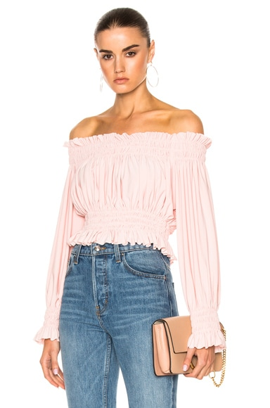 Norma Kamali Cropped Peasant Top in Blush