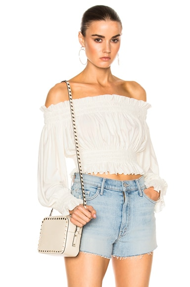 Cropped Peasant Top