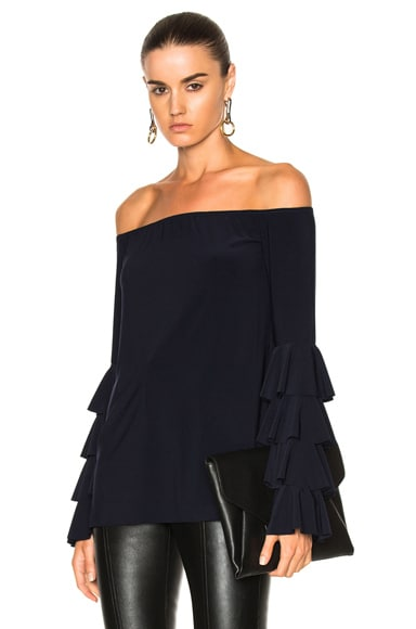 Norma Kamali Ruffle Off Shoulder Top in Midnight