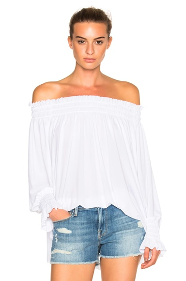 Norma Kamali Peasant Top in White