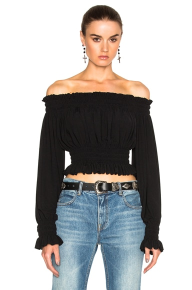 Norma Kamali Cropped Peasant Top in Black