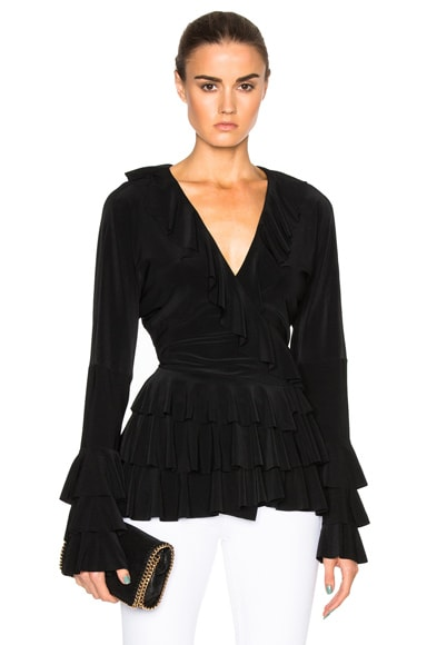 Norma Kamali Ruffle Dolman Wrap Top in Black