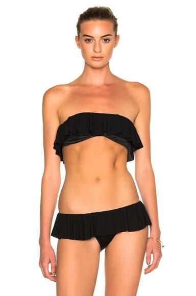 Norma Kamali Ruffled Bikini Top in Black