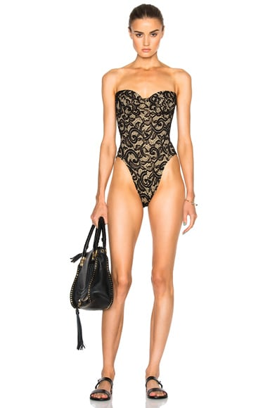 Norma Kamali Corset Swimsuit in Black Lace