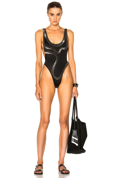 Norma Kamali x FWRD Exclusive Safety Pins Marissa Swimsuit in Black