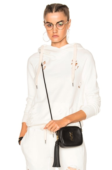 NSF Lisse Hooded Sweatshirt in White Destroy