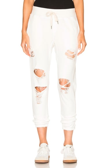 NSF Syde Pant in White Destroy