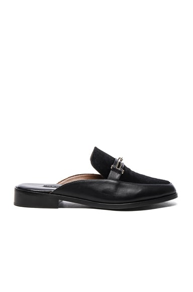 Newbark Leather & Calf Hair Melanie Mules in Black