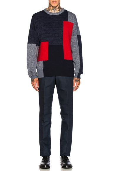 Mohair Panel Crewneck Sweater