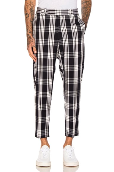 OAMC Tailored Plaid Pants in Navy & White