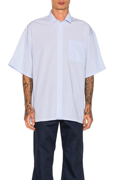 OAMC Cast Shirt in Blue Wide Stripe