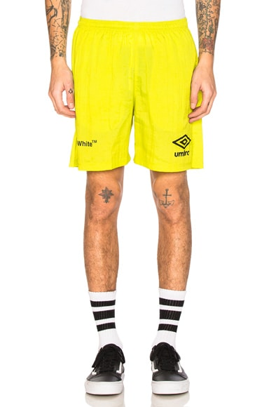 OFF-WHITE x Umbro Ripstop Shorts in Brilliant Green & White