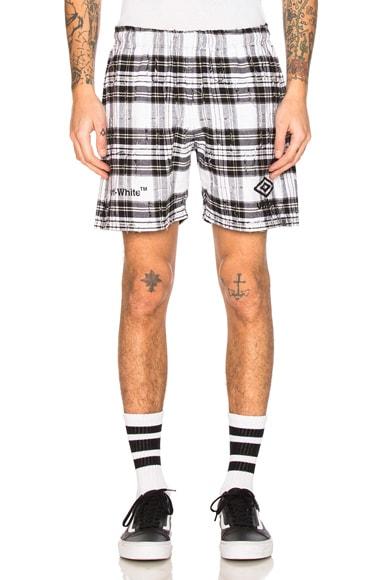OFF-WHITE x Umbro Shorts in White Check