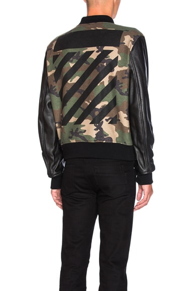 OFF-WHITE Leather Camo Bomber in Camo