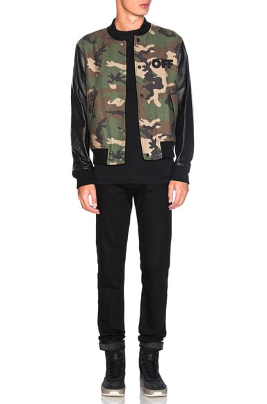 Leather Camo Bomber