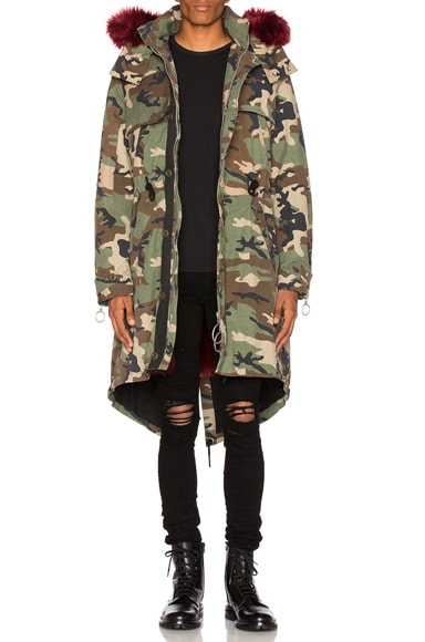 OFF-WHITE Camouflage Parka With Faux Fur in Camo