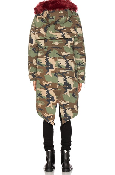 Camouflage Parka With Faux Fur