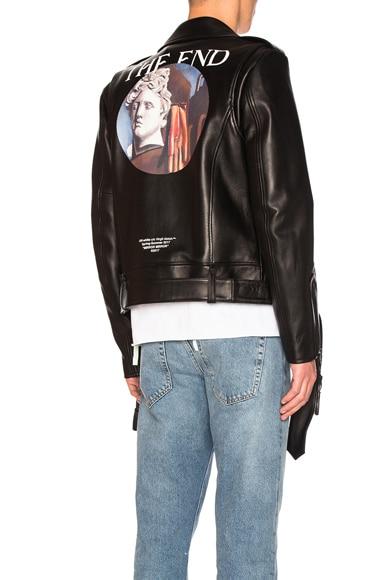 OFF-WHITE Chirico Biker Jacket in Black & Multicolor