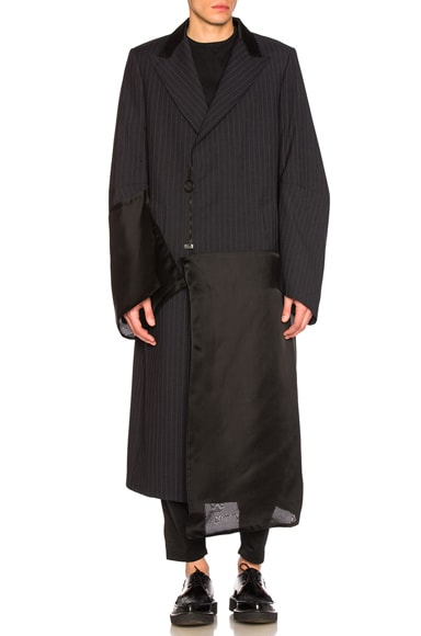 OFF-WHITE Panel Zip Coat in Pinstripe All Over