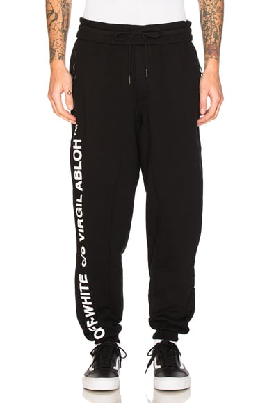 OFF-WHITE Virgil Abloh Pants in Black & White