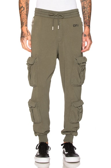 OFF-WHITE Washed Cargo Pant in Green & White