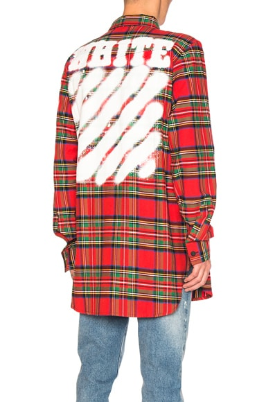 OFF-WHITE Diagonal Spray Check Shirt in Red All Over & White
