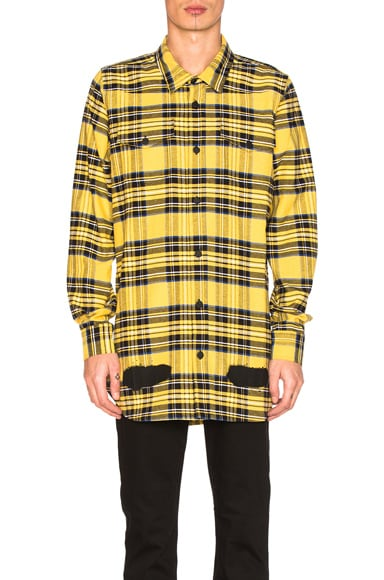 OFF-WHITE Diagonal Spray Check Shirt in Yellow All Over & Black
