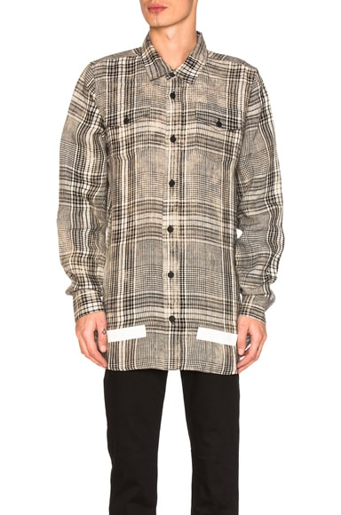 OFF-WHITE Linen Check Shirt in Beige All Over & White