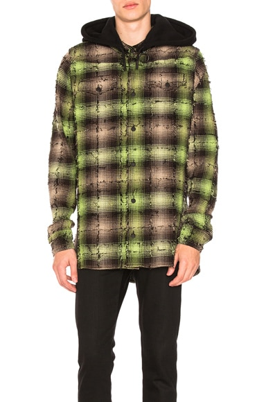 Diagonal Check Hooded Shirt