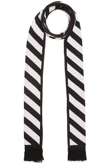 OFF-WHITE Diagonals & Arrows Big Scarf in Black & White