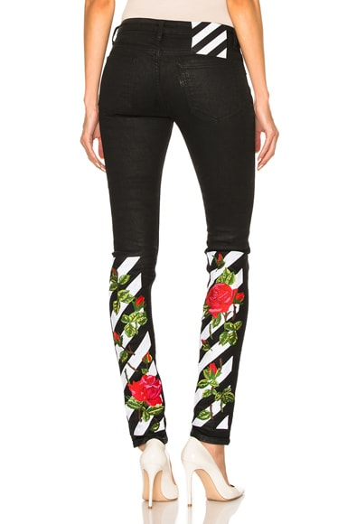 OFF-WHITE Roses Skinny Jeans in Black Multi