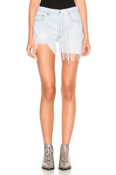 OFF-WHITE Real Ripped Denim Shorts in Bleach