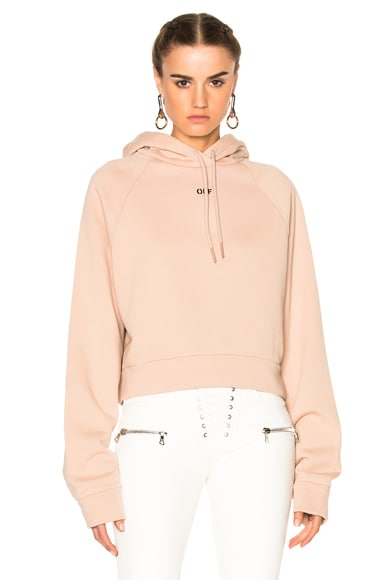OFF-WHITE Off Stamp Hoodie in Nude & Black