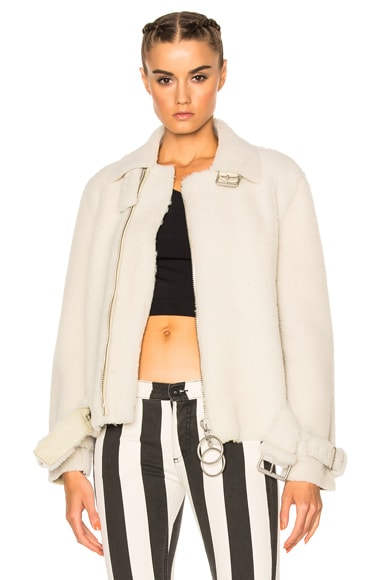 OFF-WHITE Shearling Fur Jacket in Off White