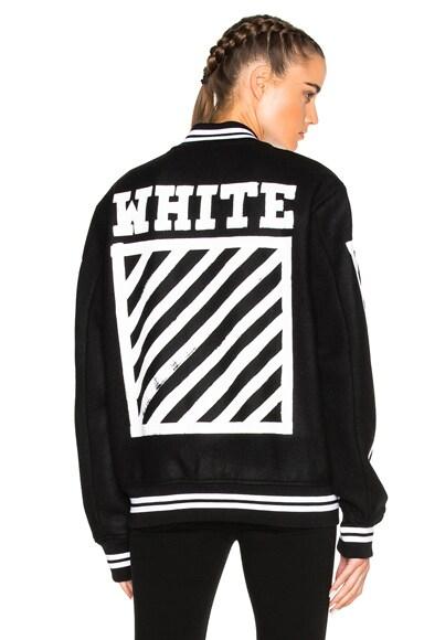 OFF-WHITE Brushed Diagonals Varsity Bomber Jacket in Black & White