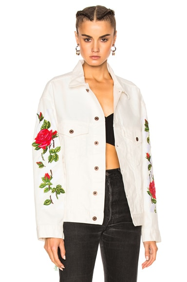 OFF-WHITE Diagonal Roses Denim Jacket in White