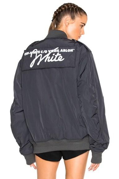 OFF-WHITE Nylon Bomber Jacket in Anthracite