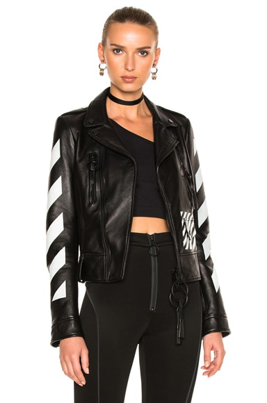 Diagonal Sleeve Leather Biker Jacket