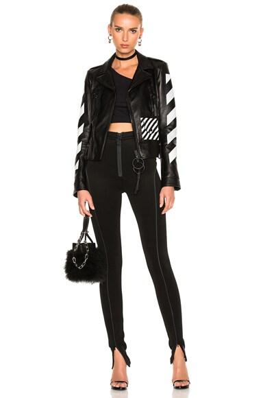 Diagonal Sleeve Leather Biker Jacket