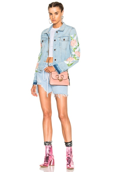 Diagonal Tulips Denim Slim Jacket