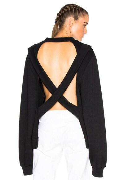 OFF-WHITE Crossed Back Crewneck Sweatshirt in Black