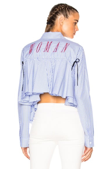 OFF-WHITE Back Ruffle Striped Shirt in All Over Red