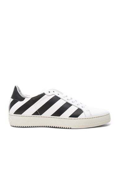 OFF-WHITE Classic Diagonals Leather Sneakers in Black & White