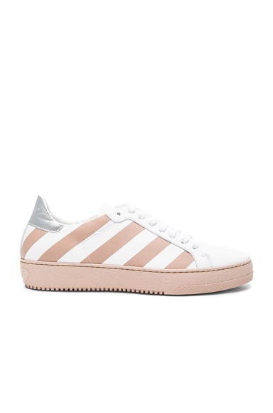 OFF-WHITE Classic Diagonals Leather Sneakers in Pink & White