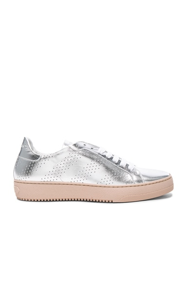 OFF-WHITE Perforated Leather Sneakers in Silver
