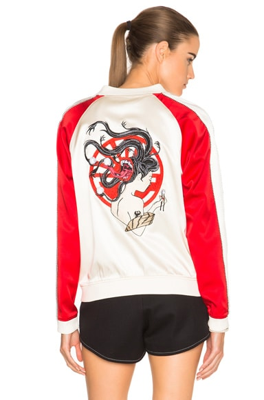 Yokai Embroidered Silk Varsity Bomber Jacket