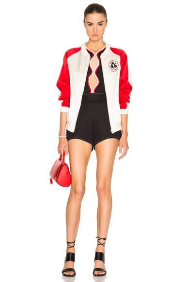 Yokai Embroidered Silk Varsity Bomber Jacket