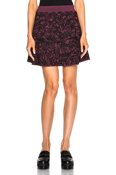 Opening Ceremony Cabbage Knit Flare Skirt in Beet