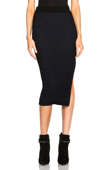 Opening Ceremony Chain Stripe Side Stitch Pencil Skirt in Black Multi