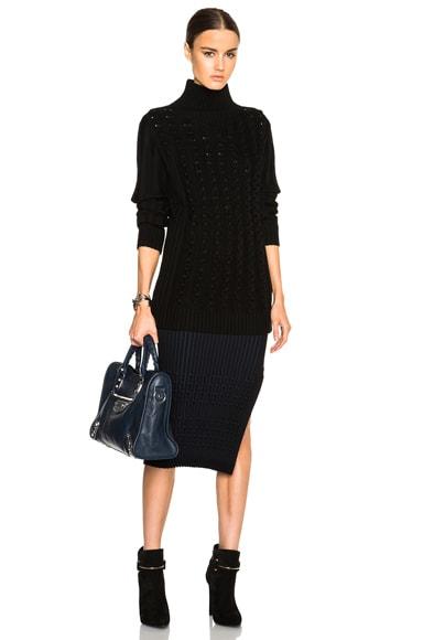 Chain Stripe Side Stitch Pencil Skirt